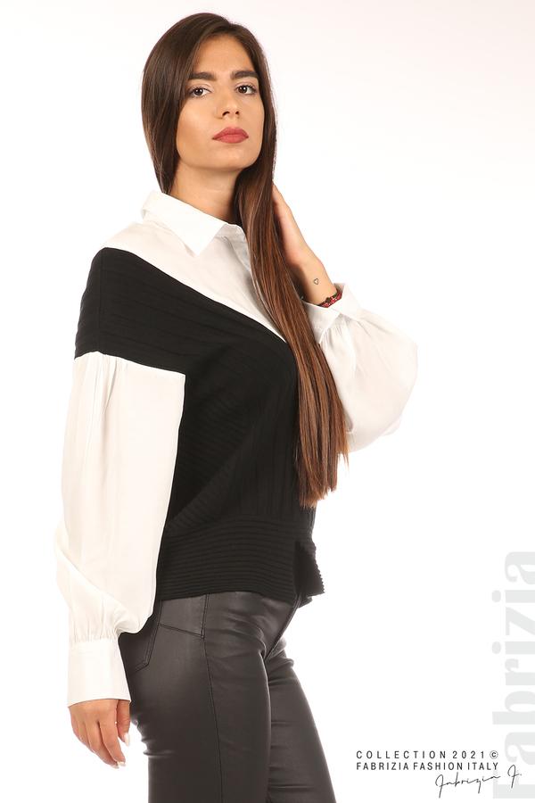 Комбинирана риза с яка бял/черен 3 fabrizia