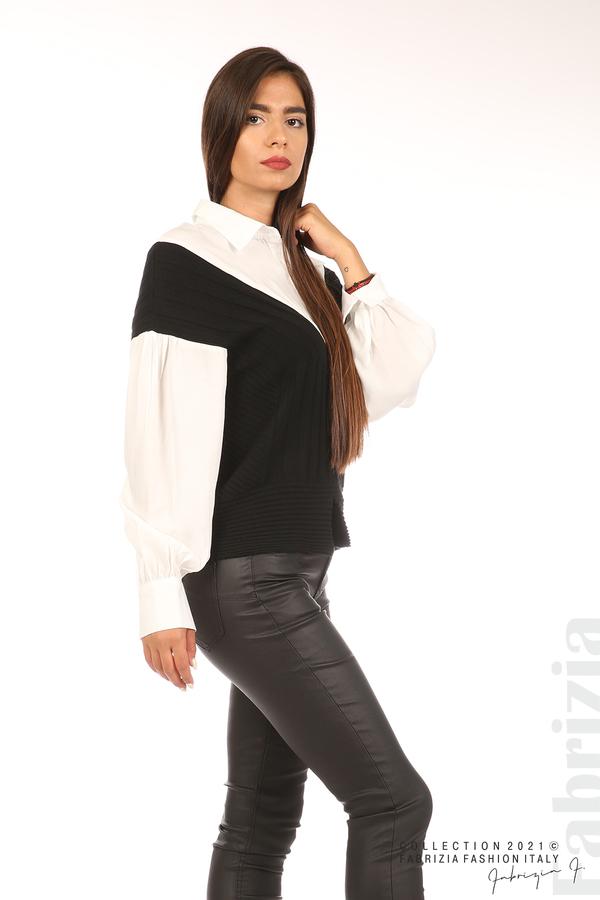 Комбинирана риза с яка бял/черен 5 fabrizia