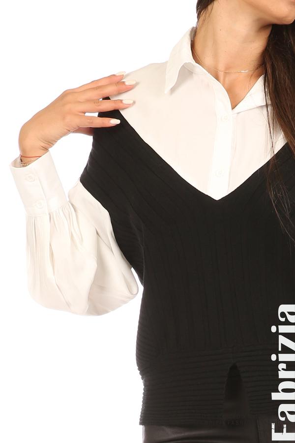 Комбинирана риза с яка бял/черен 2 fabrizia