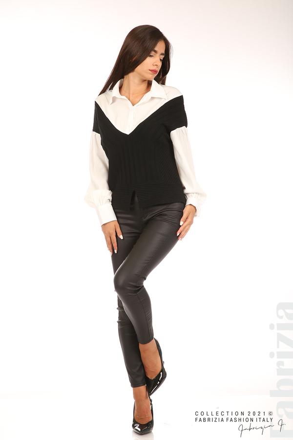 Комбинирана риза с яка бял/черен 4 fabrizia