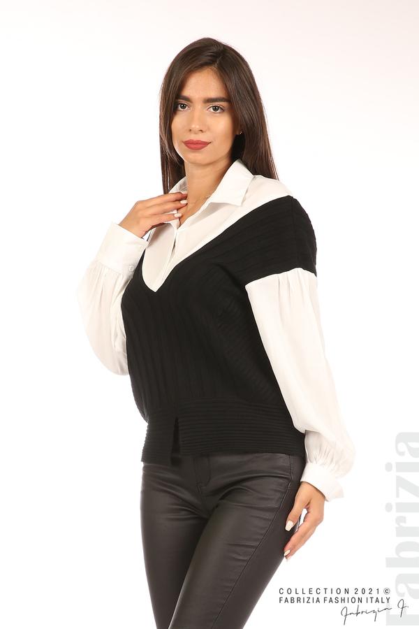 Комбинирана риза с яка бял/зелен 1 fabrizia