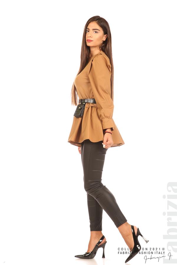 Комбинирана блуза с аксесоар св.кафяв 4 fabrizia