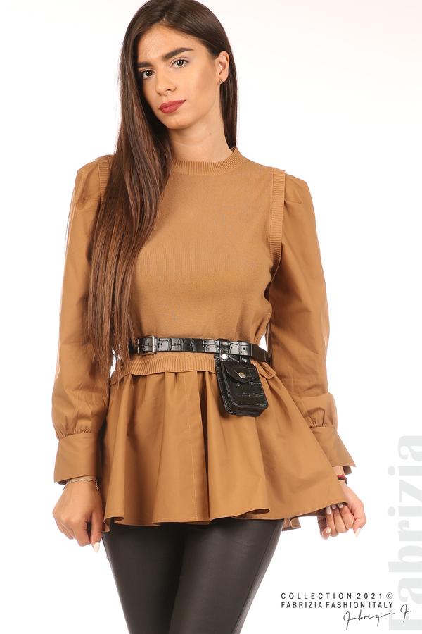Комбинирана блуза с аксесоар св.кафяв 5 fabrizia