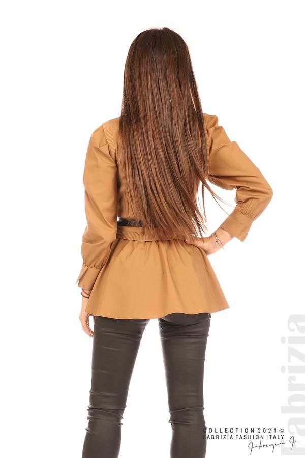 Комбинирана блуза с аксесоар св.кафяв 6 fabrizia