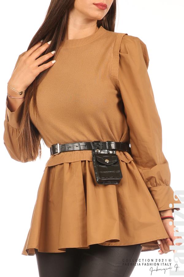 Комбинирана блуза с аксесоар св.кафяв 2 fabrizia
