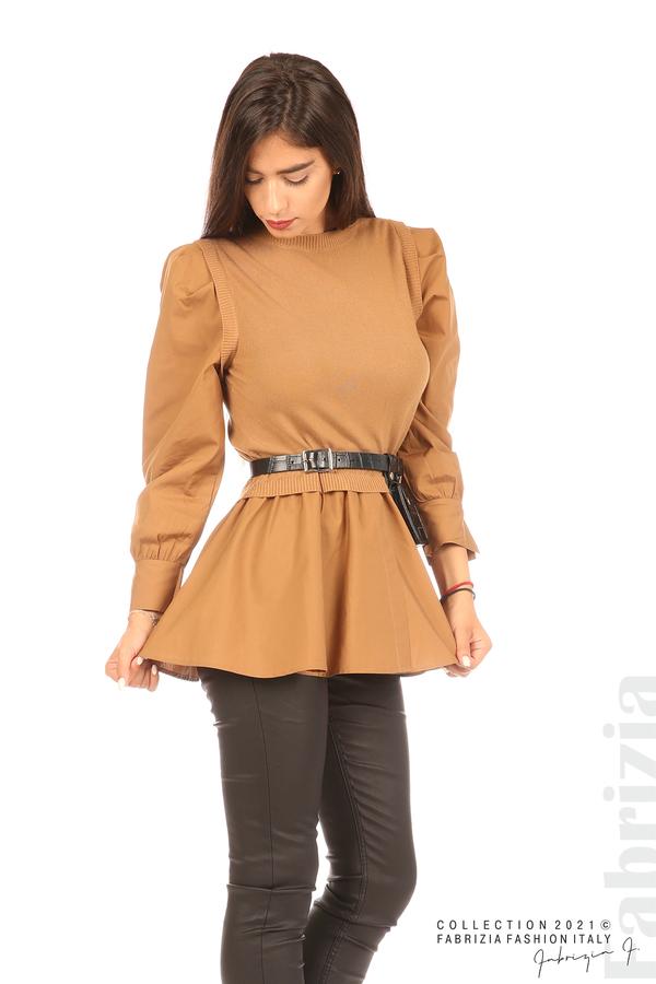 Комбинирана блуза с аксесоар св.кафяв 3 fabrizia