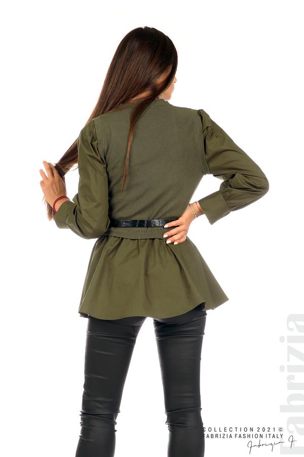 Комбинирана блуза с аксесоар каки 6 fabrizia