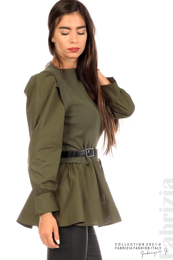 Комбинирана блуза с аксесоар каки 5 fabrizia