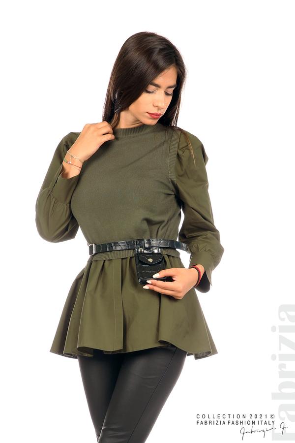 Комбинирана блуза с аксесоар каки 1 fabrizia