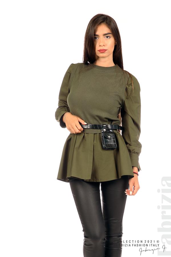 Комбинирана блуза с аксесоар каки 2 fabrizia