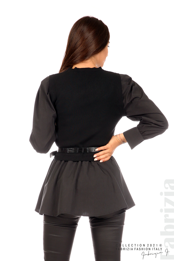 Комбинирана блуза с аксесоар черен 6 fabrizia