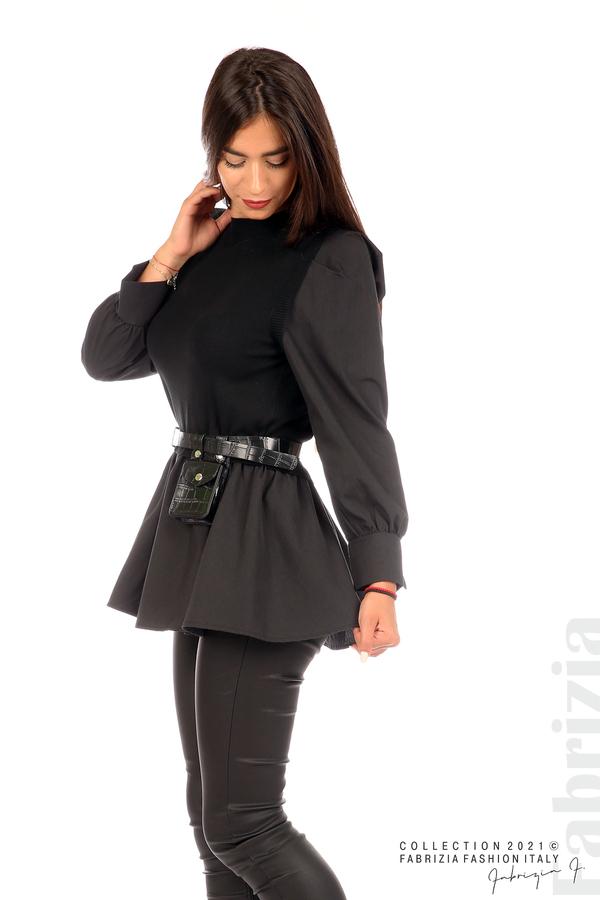 Комбинирана блуза с аксесоар черен 3 fabrizia