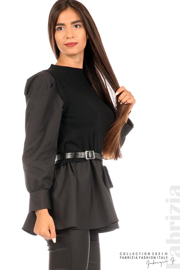 Комбинирана блуза с аксесоар черен 2 fabrizia