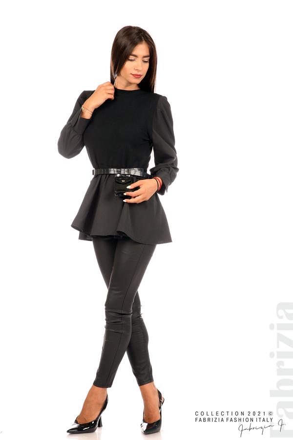 Комбинирана блуза с аксесоар черен 4 fabrizia