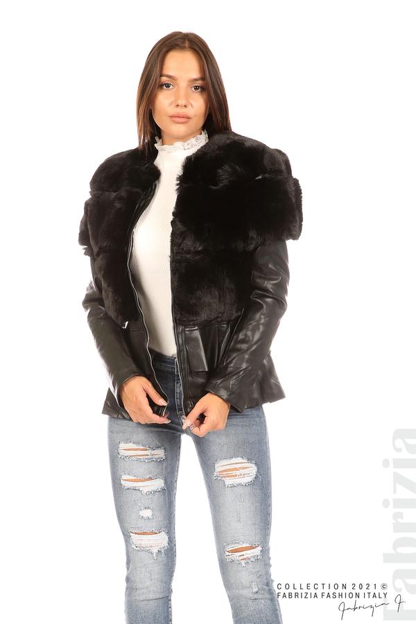 Комбинирано кожено яке черен 4 fabrizia