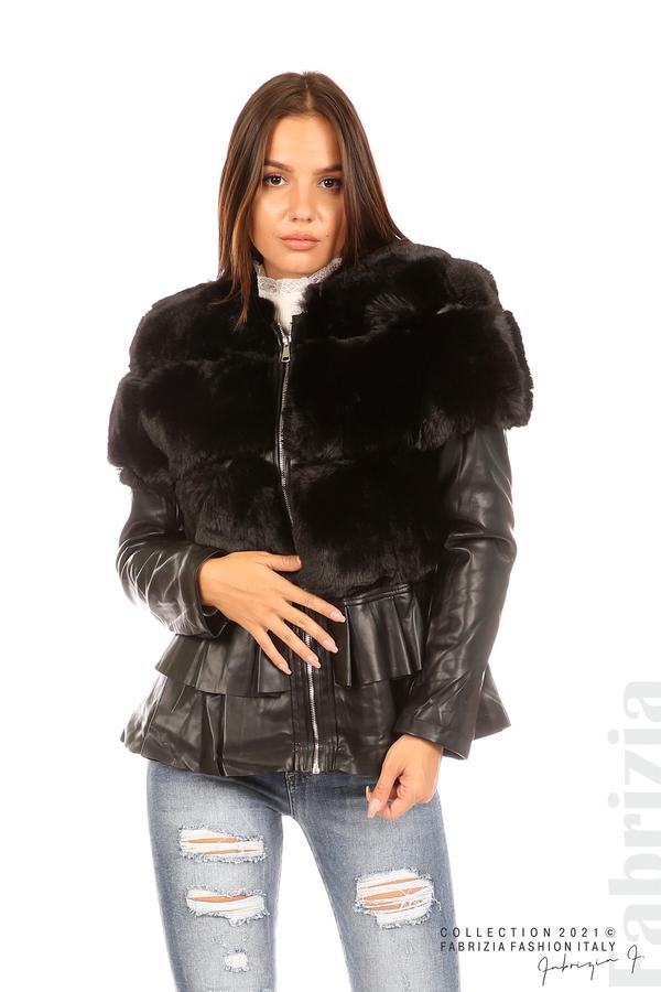 Комбинирано кожено яке черен 1 fabrizia