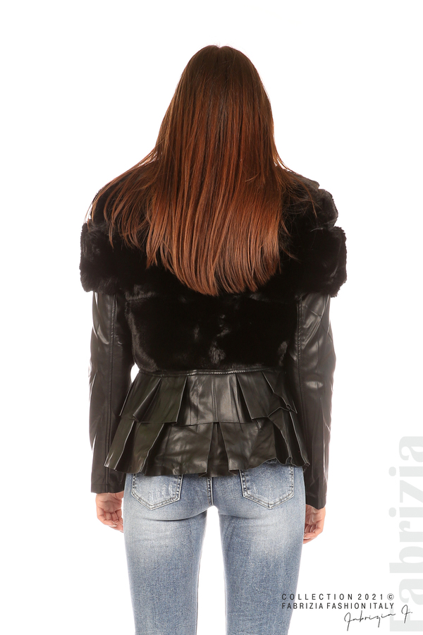 Комбинирано кожено яке черен 6 fabrizia