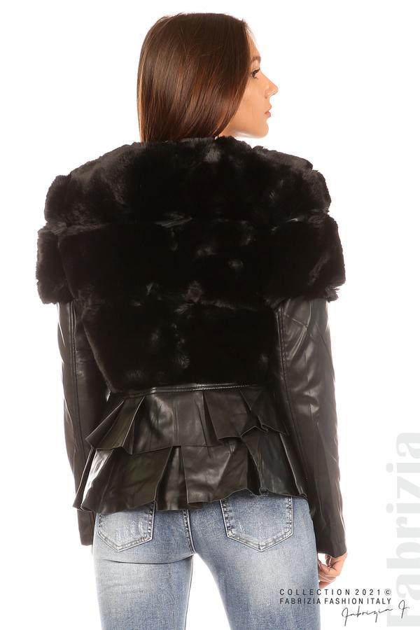 Комбинирано кожено яке черен 5 fabrizia