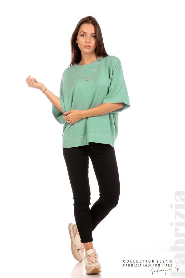 Блуза фино плетиво с аксесоар бл.зелен 3 fabrizia