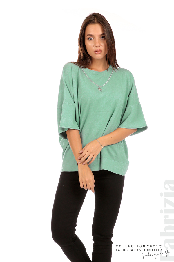 Блуза фино плетиво с аксесоар бл.зелен 1 fabrizia