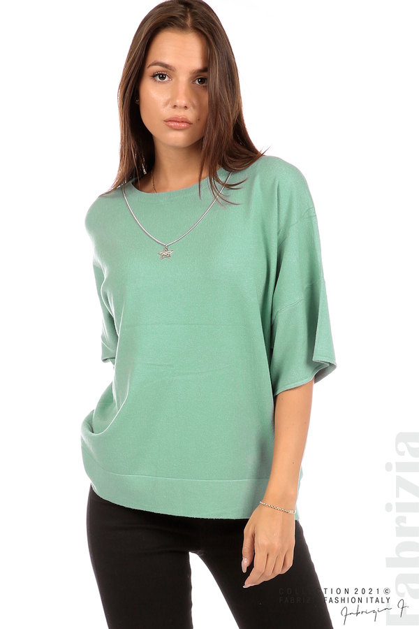 Блуза фино плетиво с аксесоар бл.зелен 2 fabrizia