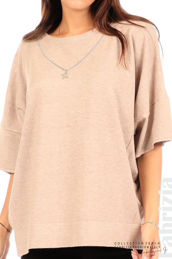 Блуза фино плетиво с аксесоар капучино 2 fabrizia