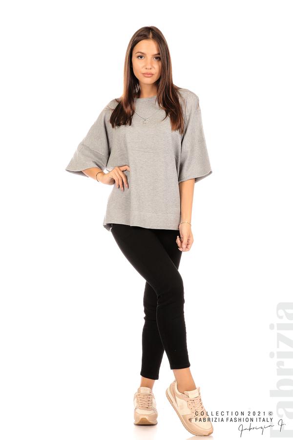 Блуза фино плетиво с аксесоар сив 3 fabrizia