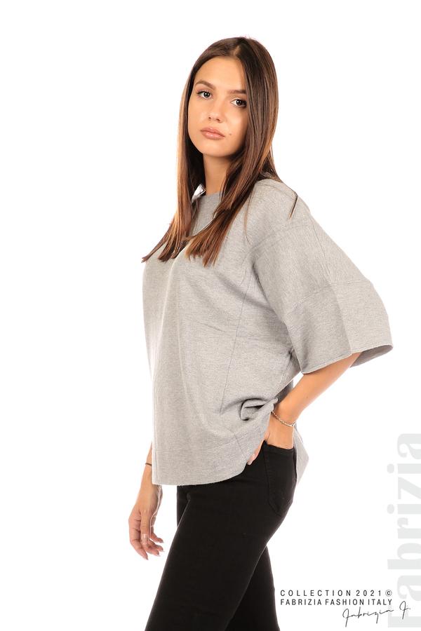 Блуза фино плетиво с аксесоар сив 1 fabrizia