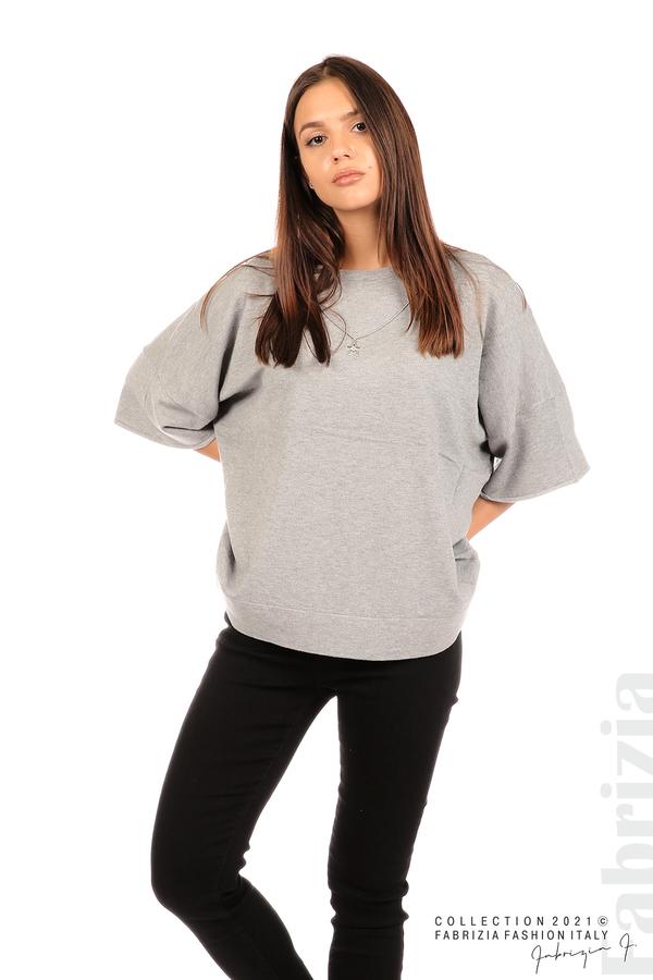 Блуза фино плетиво с аксесоар сив 4 fabrizia