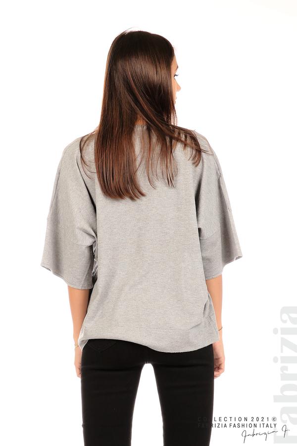 Блуза фино плетиво с аксесоар сив 6 fabrizia