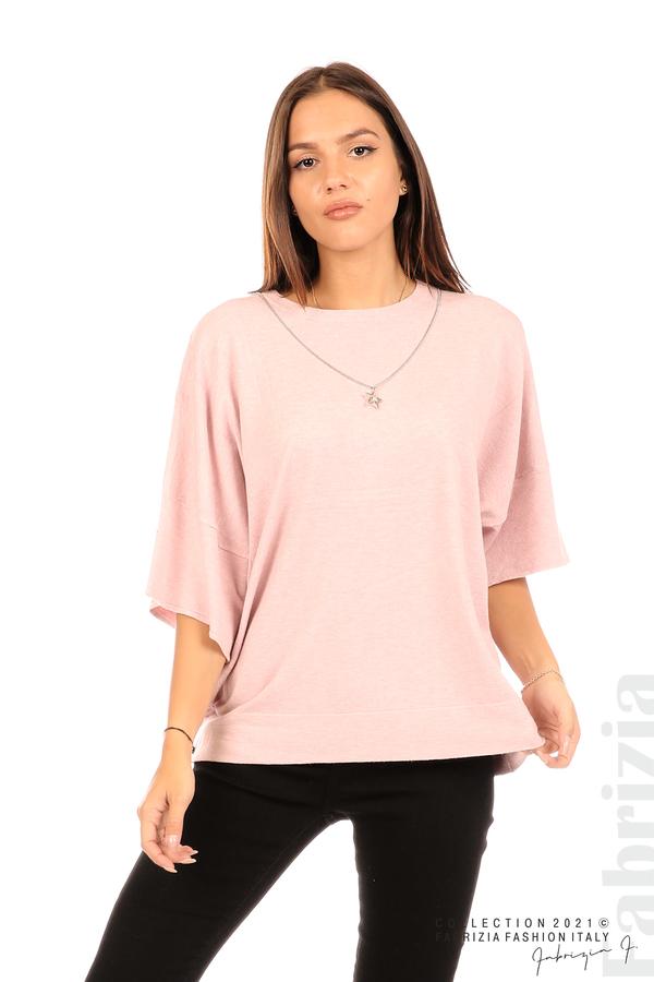 Блуза фино плетиво с аксесоар розов 1 fabrizia