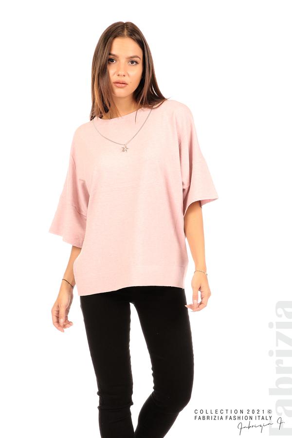 Блуза фино плетиво с аксесоар розов 4 fabrizia