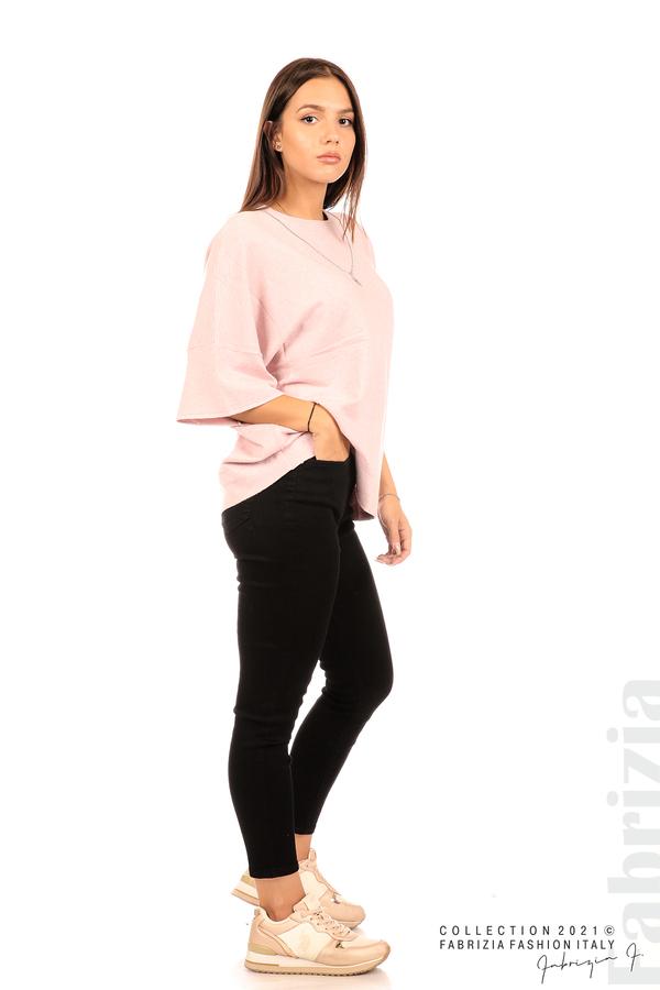 Блуза фино плетиво с аксесоар розов 3 fabrizia