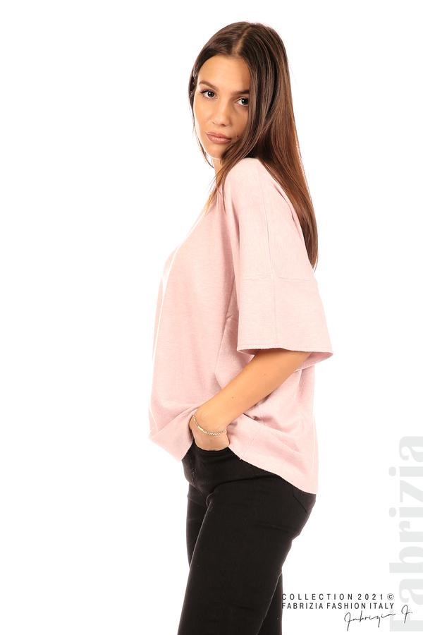 Блуза фино плетиво с аксесоар розов 5 fabrizia