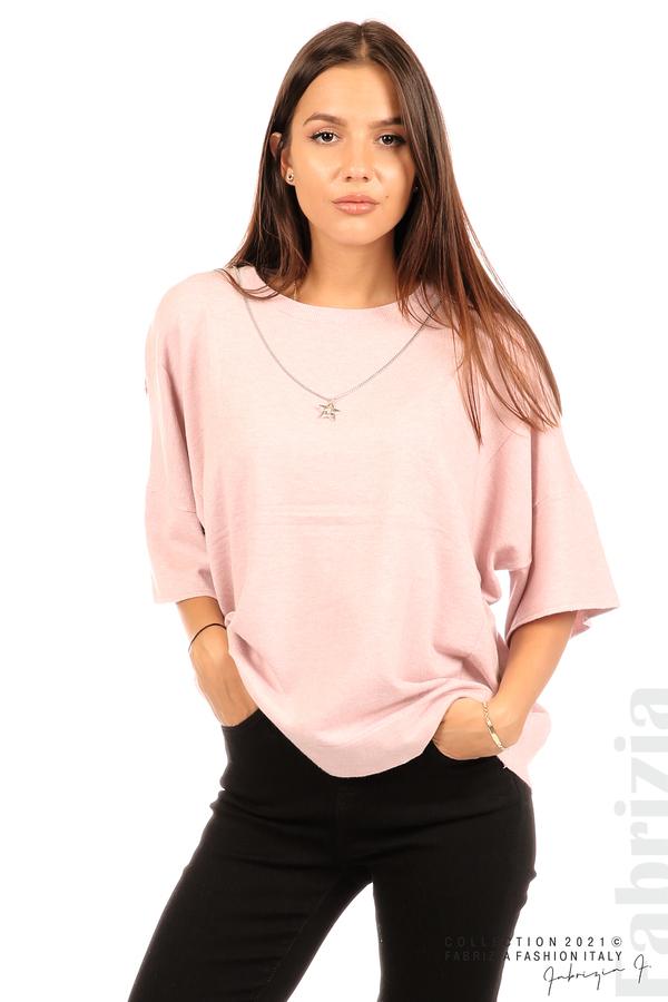Блуза фино плетиво с аксесоар розов 2 fabrizia