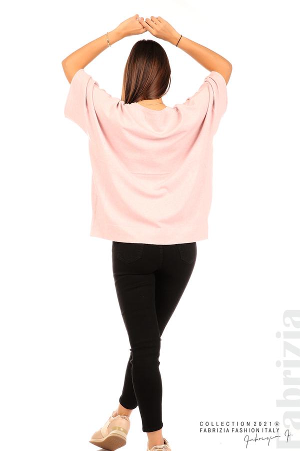Блуза фино плетиво с аксесоар розов 6 fabrizia