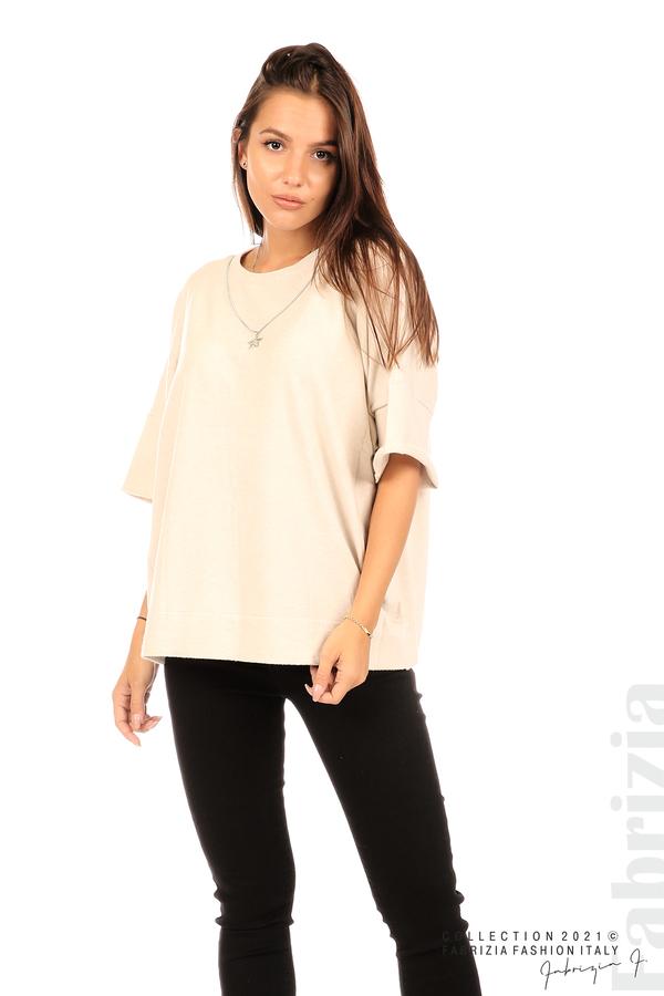 Блуза фино плетиво с аксесоар бежов 5 fabrizia