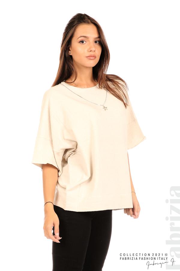 Блуза фино плетиво с аксесоар бежов 1 fabrizia
