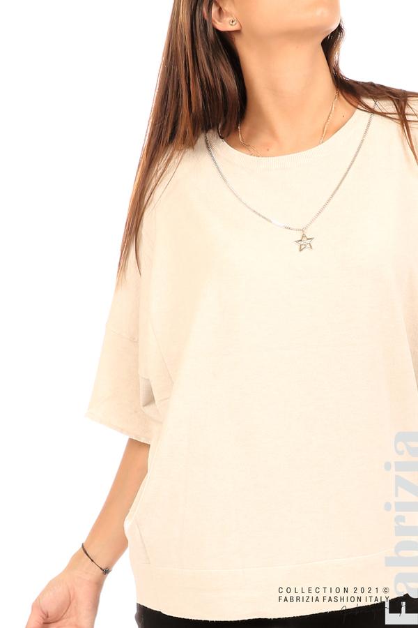 Блуза фино плетиво с аксесоар бежов 2 fabrizia