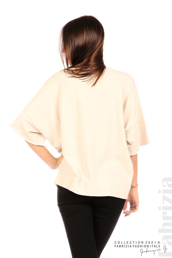 Блуза фино плетиво с аксесоар бежов 6 fabrizia
