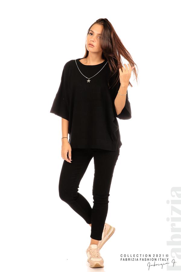 Блуза фино плетиво с аксесоар черен 3 fabrizia