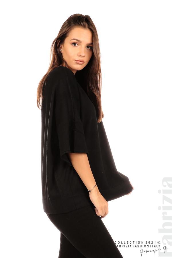 Блуза фино плетиво с аксесоар черен 1 fabrizia