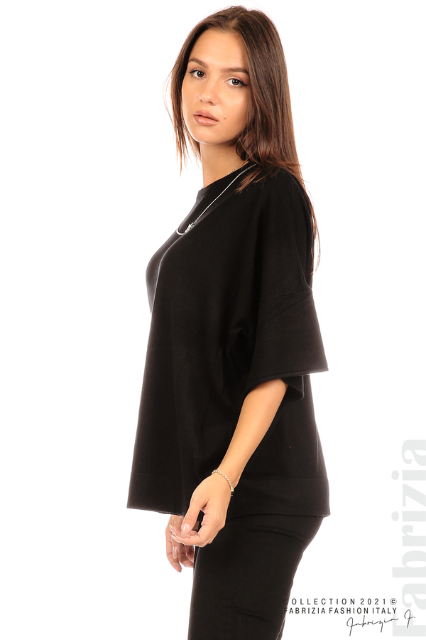 Блуза фино плетиво с аксесоар черен 4 fabrizia