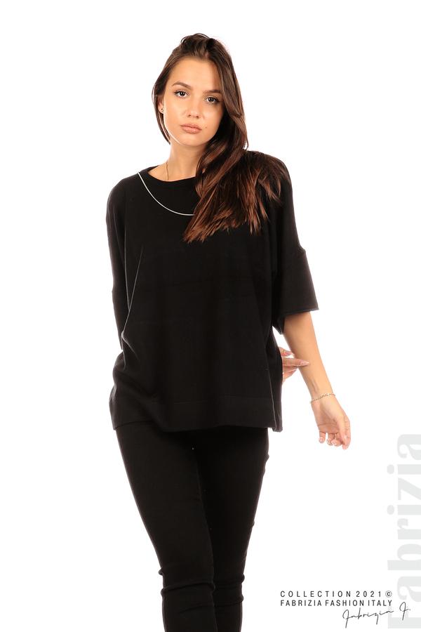 Блуза фино плетиво с аксесоар черен 5 fabrizia