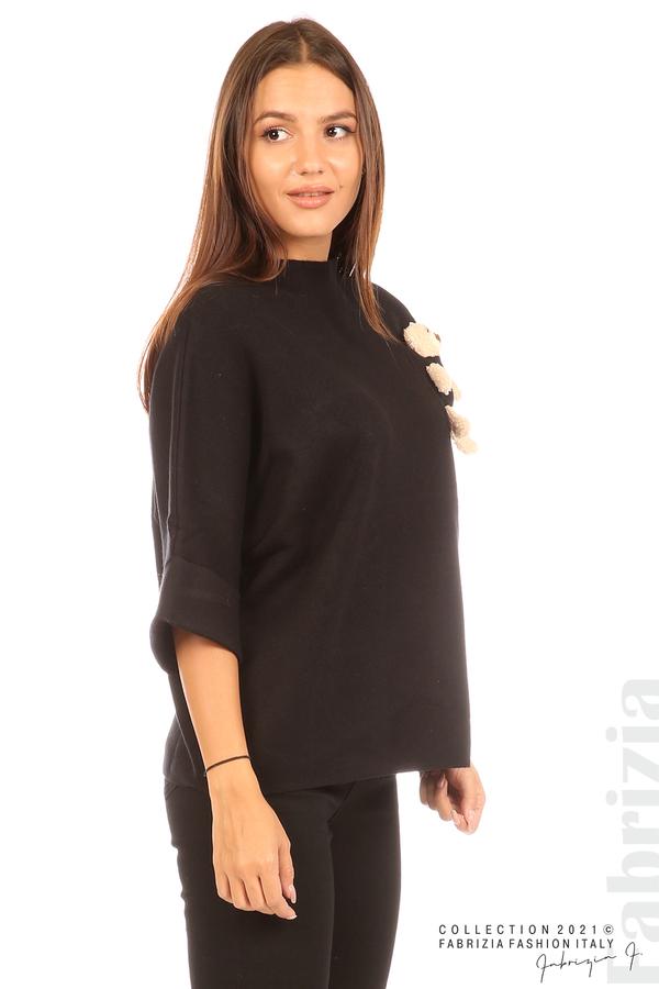 Блуза с мече и 3/4 ръкави черен 4 fabrizia
