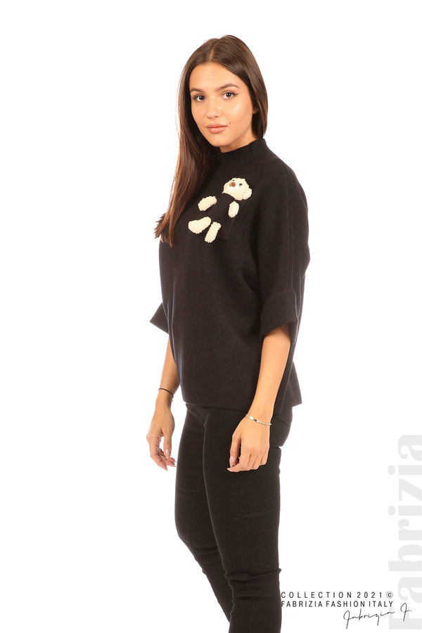 Блуза с мече и 3/4 ръкави черен 3 fabrizia