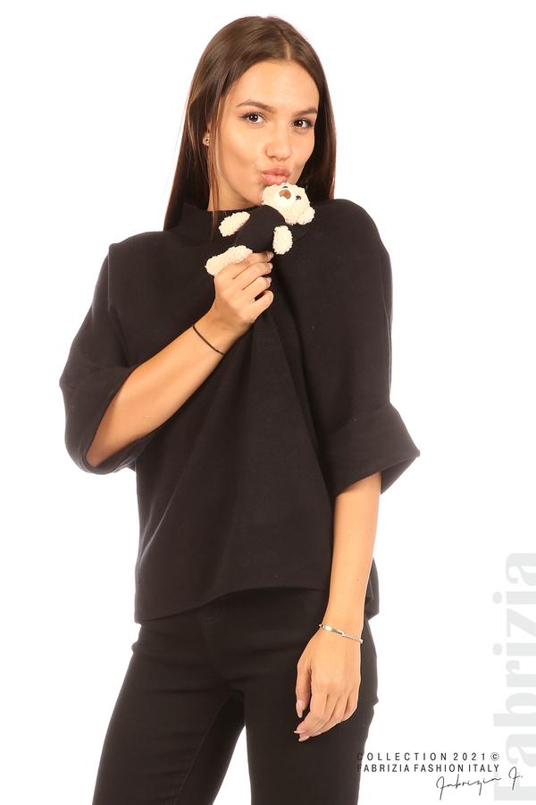 Блуза с мече и 3/4 ръкави черен 2 fabrizia