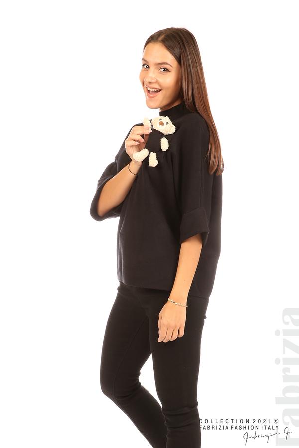 Блуза с мече и 3/4 ръкави черен 5 fabrizia