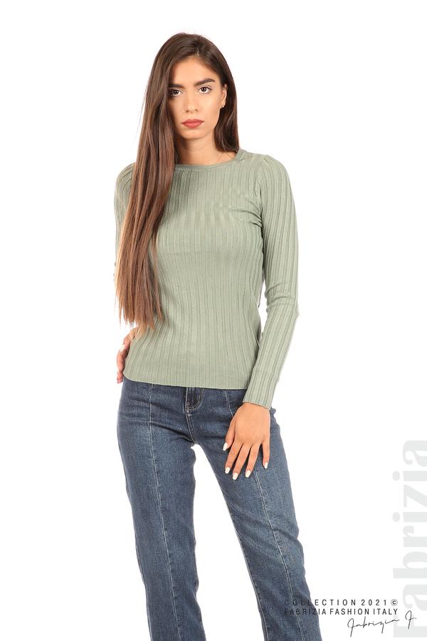 Едноцветна рипсена блуза каки 1 fabrizia