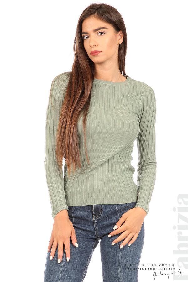 Едноцветна рипсена блуза каки 2 fabrizia